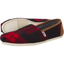 Boty TOMS Plaid Womens Classic Alpargata Red